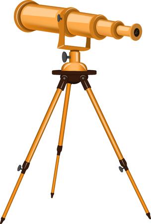 望遠鏡のベクター イラストです。孤立したオブジェクト。天文学。