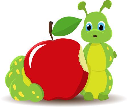rups worm met rode appel. Grappige babyillustratie. Geïsoleerd op witte achtergrond