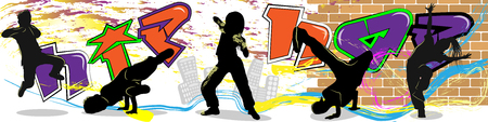 hip hop dancer on wall and city background. Vector image. Colorful