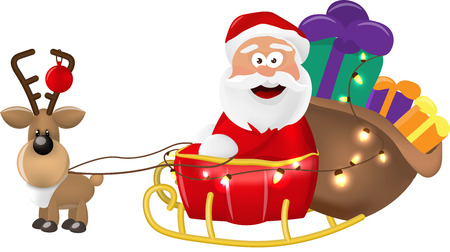 An illustration of Santa Claus riding in his Christmas Sleigh or Sled delivering presents. On a white background.Isolate Illustration