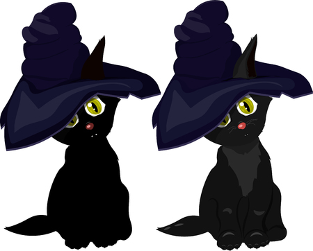 black cat in witch hat on white background