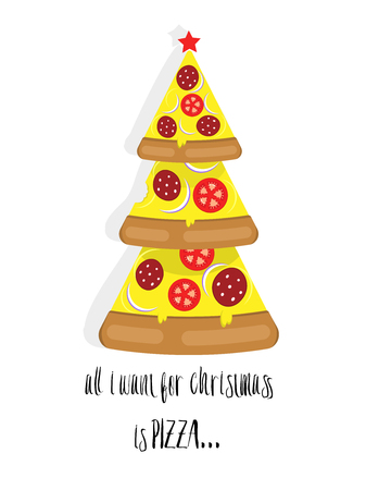 Christmas tree pizza with text, vector illustration.
