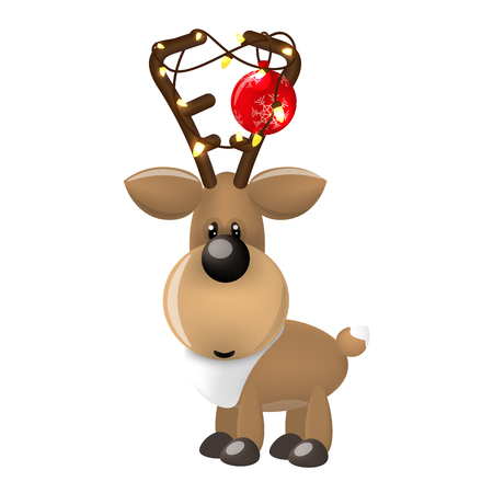 New Year deer with Christmas balls and garland. Vector illustration on white background Illustration