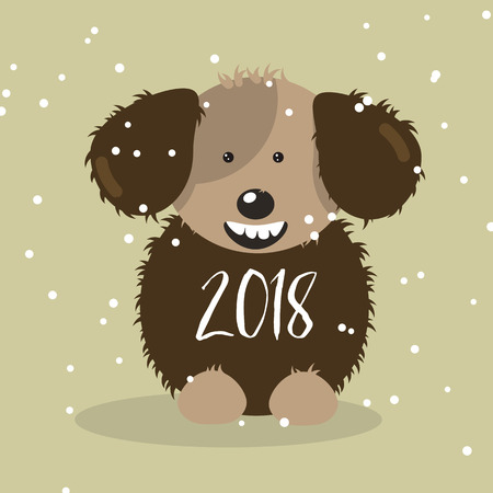 Happy 2018 New Year card. Funny fluffy dog congratulates on the holiday. Ilustração