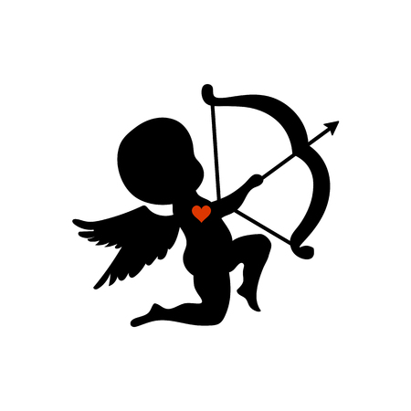 Silhouette cupid shooting with his bow vector illustration Illustration