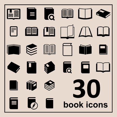 book design: Book icons Library icons Education icons Reading icons Learning icons Book pictogram Knowledge icons