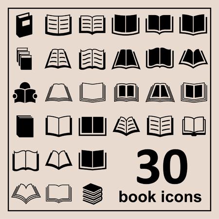 libros abiertos: Libro Iconos Biblioteca iconos Iconos de la educación de lectura iconos aprendizaje iconos Libro iconos Conocimiento pictograma Vectores