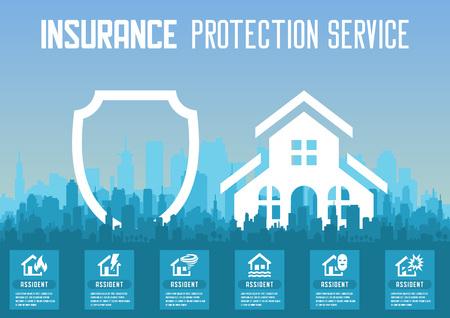 House insurance service vector illustration for web design.