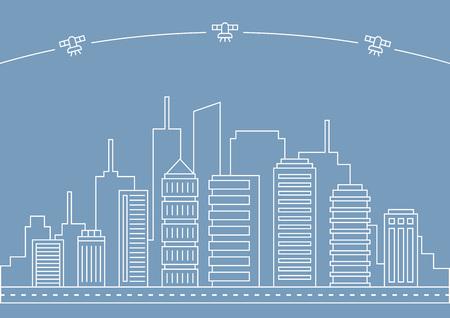 White line city vector illustration on blue background
