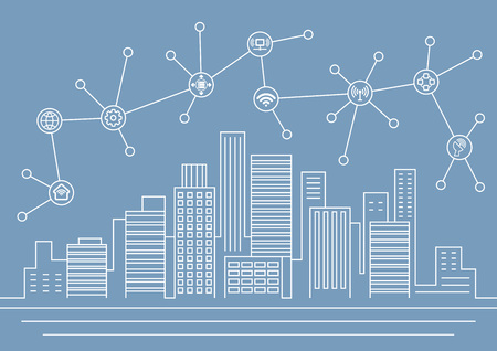 Smart city thin line illustration with connection icons