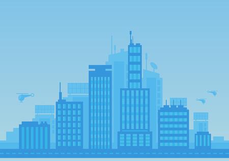 City modern illustration blue background for any use