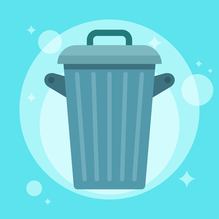 Garbage can. Trash container. Recycle bin. Vector flat simple illustration
