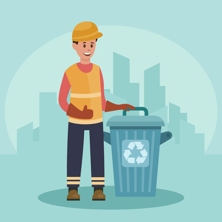 Garbage man with trash container. Recycling concept. City background. Flat vector illustration.