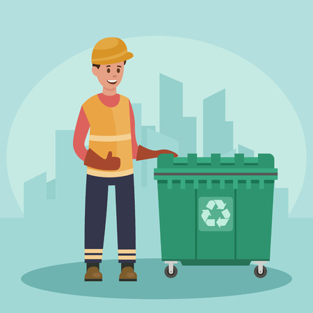 Recycling concept with garbage man and trash container.
