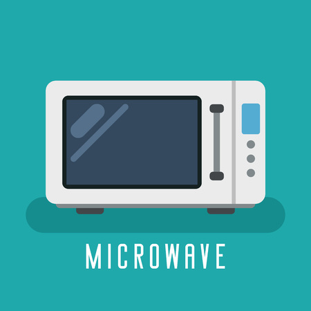 Microwave vector flat device for kitchen and cooking Imagens - 124557639