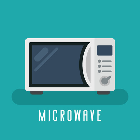 Microwave vector flat device for kitchen and cooking Ilustração