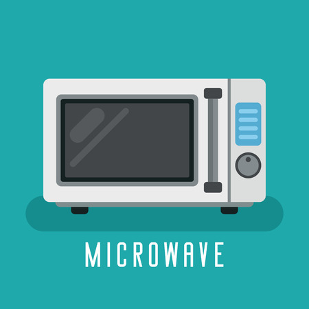 Microwave device for cook. For kitchen equipment. Flat vector graphic.