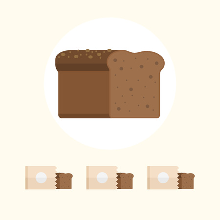 Bread flat vector illustration single and in paper bag.