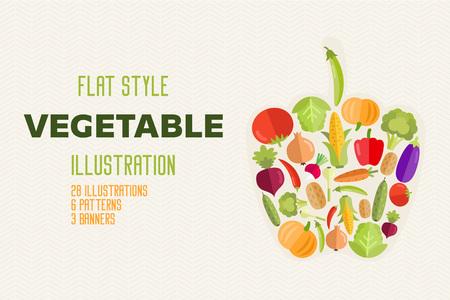 Vegetables flat vector healthy organic food set
