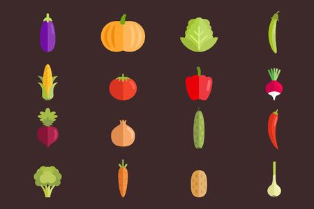 Conjunto de ilustración de vector plano de verduras. Colección de alimentos orgánicos naturales. Ilustración de vector