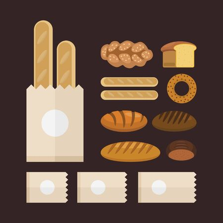 Types of bakery products. Vector flat food set.