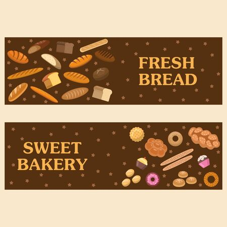 Bakery goods and bread promotion vector banner