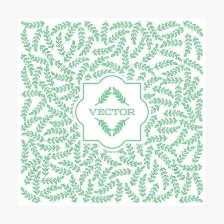Vintage card with floral elements. Frame for flowershop with label design. Summer decoration greeting card. Leaf background for cosmetics packaging. Stock Illustratie