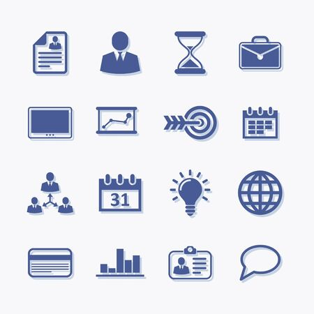 User interface vector flat business icons with shadow.