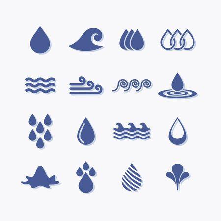 Set of flat vector water icons. Liquid pictogram