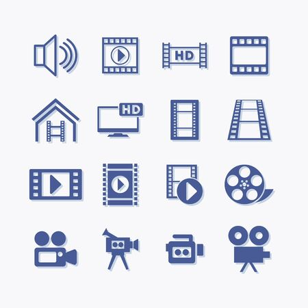 Video flat vector icons set for app Stock Illustratie