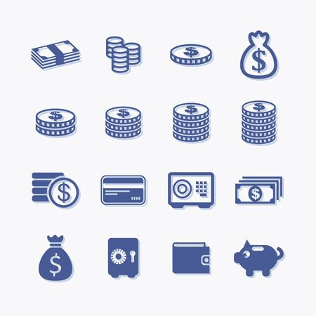 Flat vector money and bank icon set