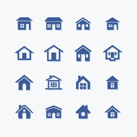 Houses flat vector icons set. Real estate. Stock Illustratie