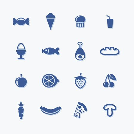 Food icon set. Flat vector pictograms for menu or supermarket.