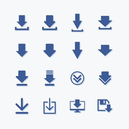 Ensemble d'icône de téléchargement de vecteur plat signe simple Vecteurs