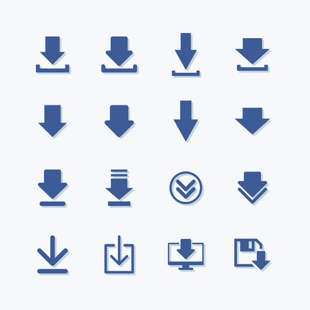 Set of simple sign flat vector download icon Stock Illustratie