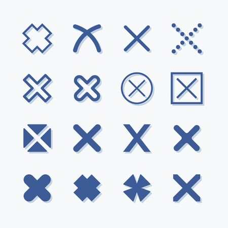 No icon flat vector graphic set. Reject and delete pictogram. Stock Illustratie