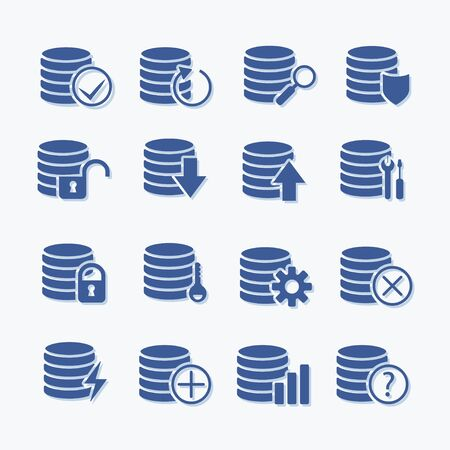 Simple set of database related icons. Elements for mobile concept and web apps. Pictogram icons for website design and development.