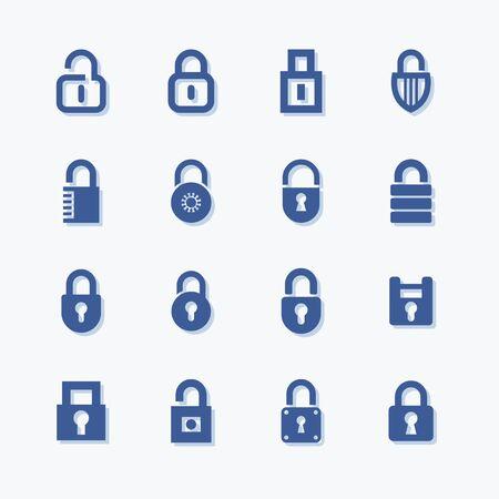 Lock and security flat vector icon set. Stock Illustratie