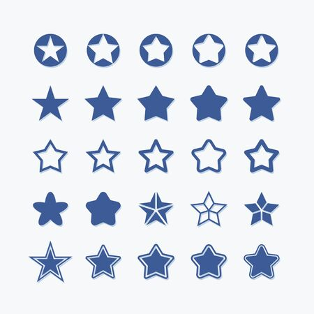 Star flat vector graphic icon set. Rating quality pictogram.
