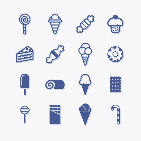 Sweets and confectionery flat vector set pictogram icons.