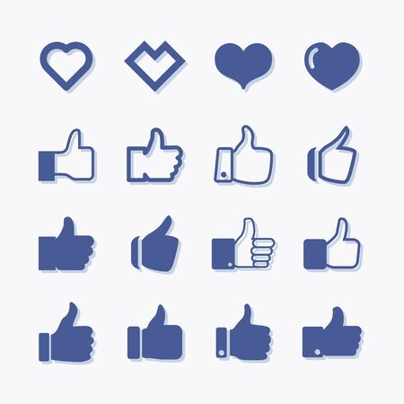 Thumbs up and like flat vector icons set. Stock Illustratie