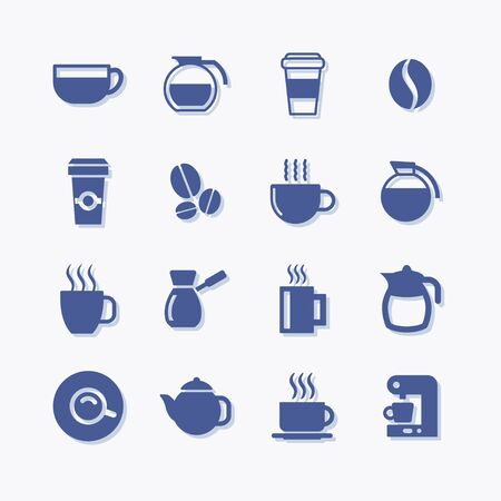 Coffee and tea flat vector pictogram icons.