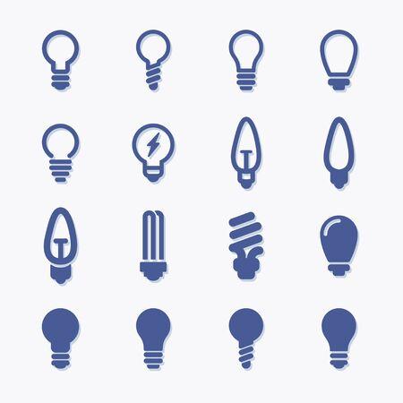 Light bulb vector flat gra pictogram icons