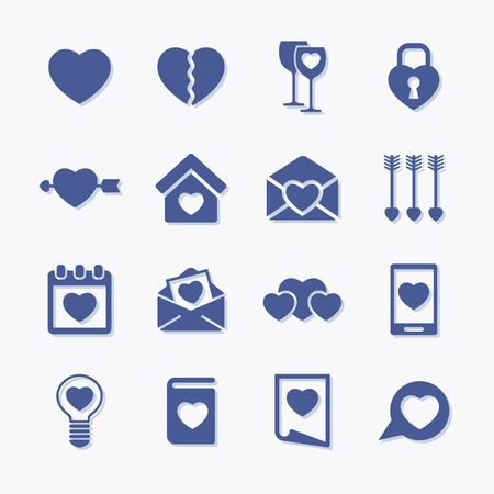 Premium set of heart flat icons. Simple pictograms pack.