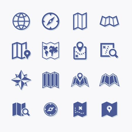 Set of vector map and navigation pictogram icons. Stock Illustratie