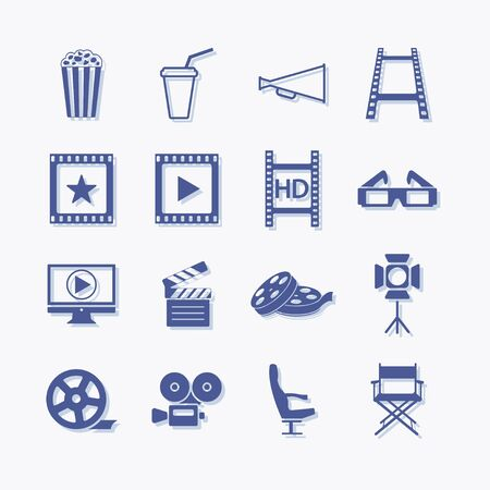 Video and multimedia vector pictogram icon set for web.