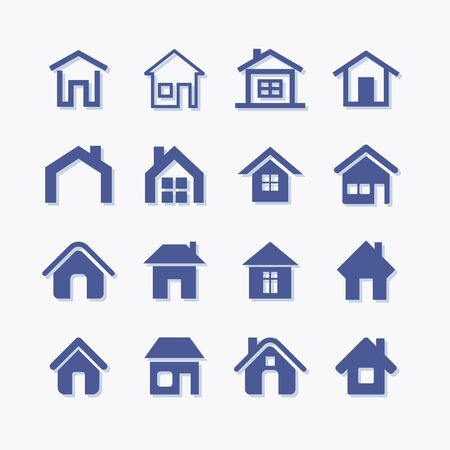 House building vector flat pictogram icon set for real estate Stock Illustratie