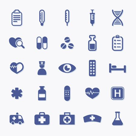 Set of medic and healthcare vector pictogram icons
