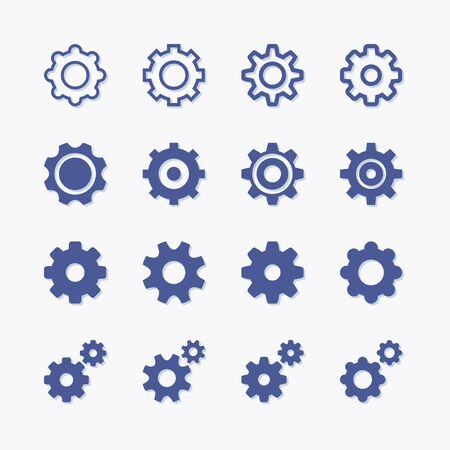 Set of cogwheel and industrial mechanism pictogram icons for options and settings