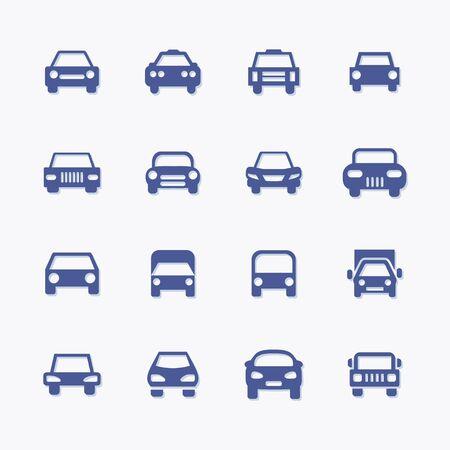 Set of vector car pictogram icons for transportation Stock Illustratie